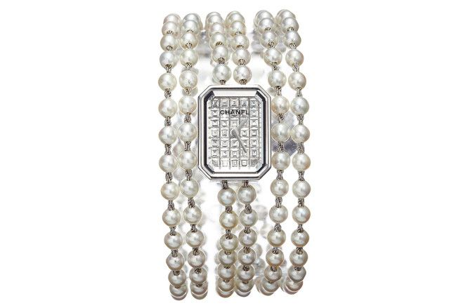 Chanel Première Pearl Watch in 18K White Gold and Baguette-Cut Diamonds on a Cultured Pearl Bracelet