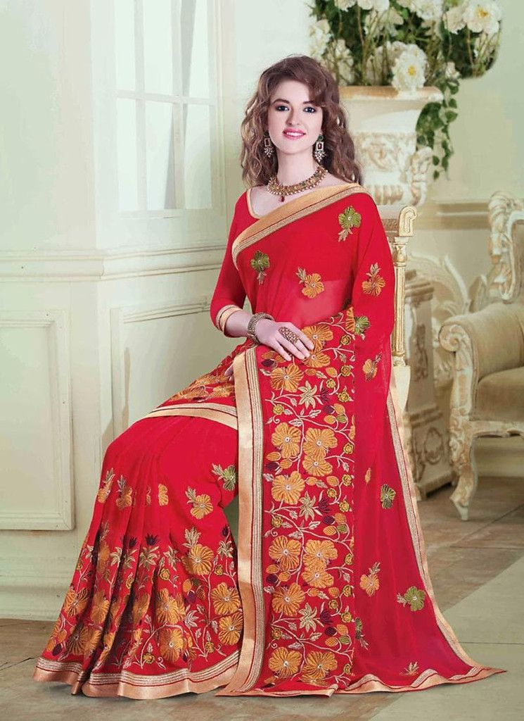 Red Chiffon Lace Border Sarees With Embroidered Pallu Online
