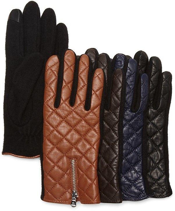 Lauren Ralph Lauren Hybrid Leather Quilted Tech Gloves | Ladies ... : leather quilted gloves - Adamdwight.com