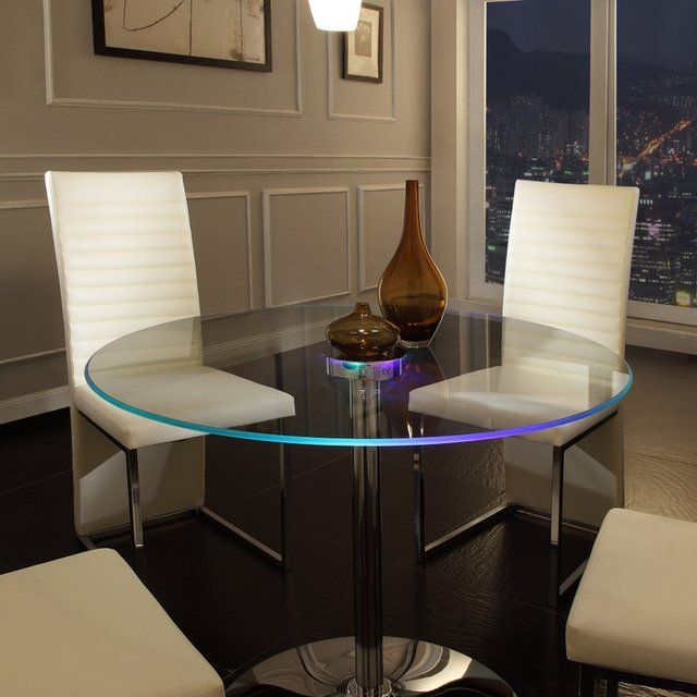 Elysium Led Dining Table Round Glass Kitchen Table Glass