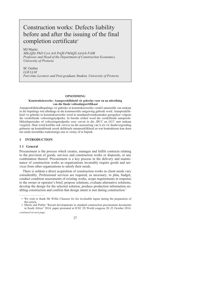 Pdf) Construction Works Defects Liability Before And