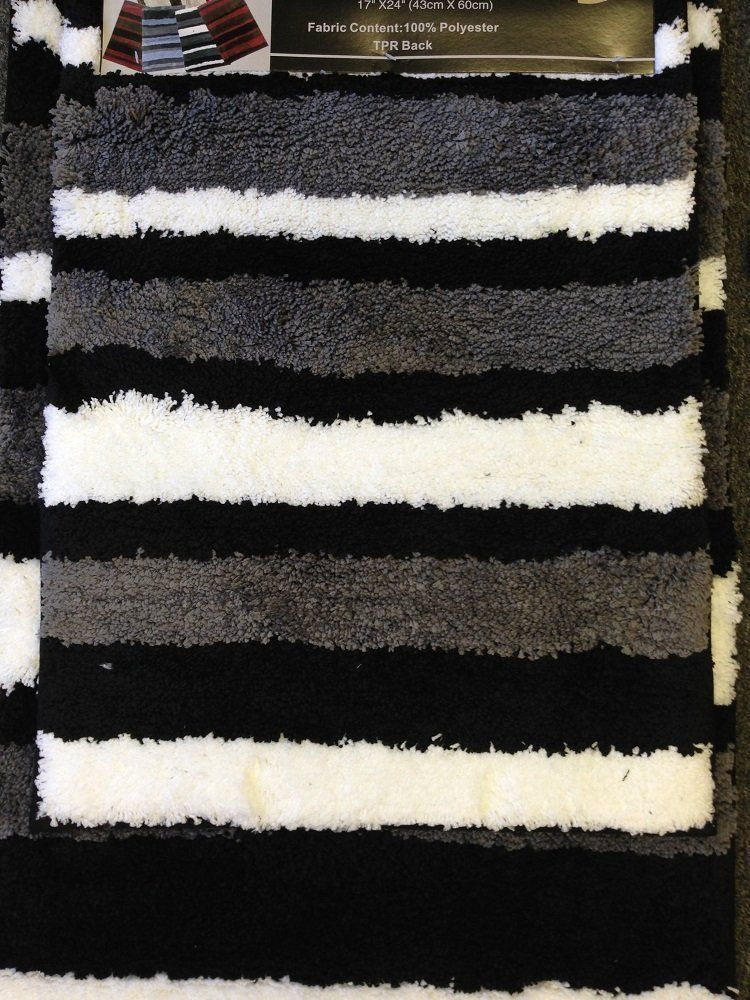 Piece Microfiber Bath Rug Set Modern Stripe Pattern Bathroom - Bath mat sale for bathroom decorating ideas
