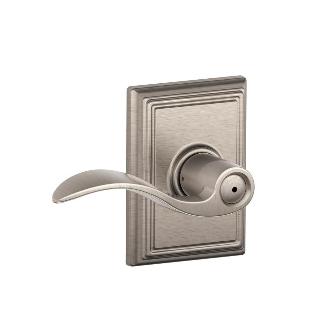 Schlage Accent Satin Nickel Privacy Bed Bath Door Lever With Addison Trim F40 Acc 619 Add The Home Depot Door Levers Schlage Accent Doors