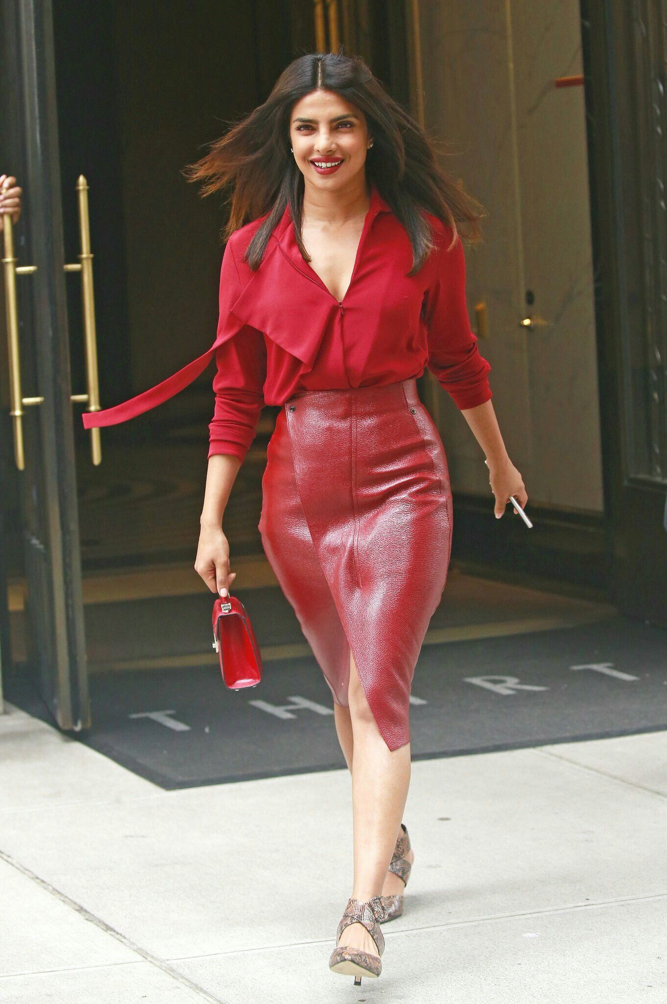 Pee cee | Bollywood fashion, Red leather skirt, Fashion