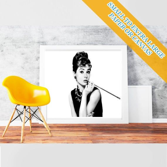 Audrey Hepburn - Classic Art Print Poster Rolled Cotton Matt Canvas  Hollywood's Golden Age style Wa #hollywoodgoldenage