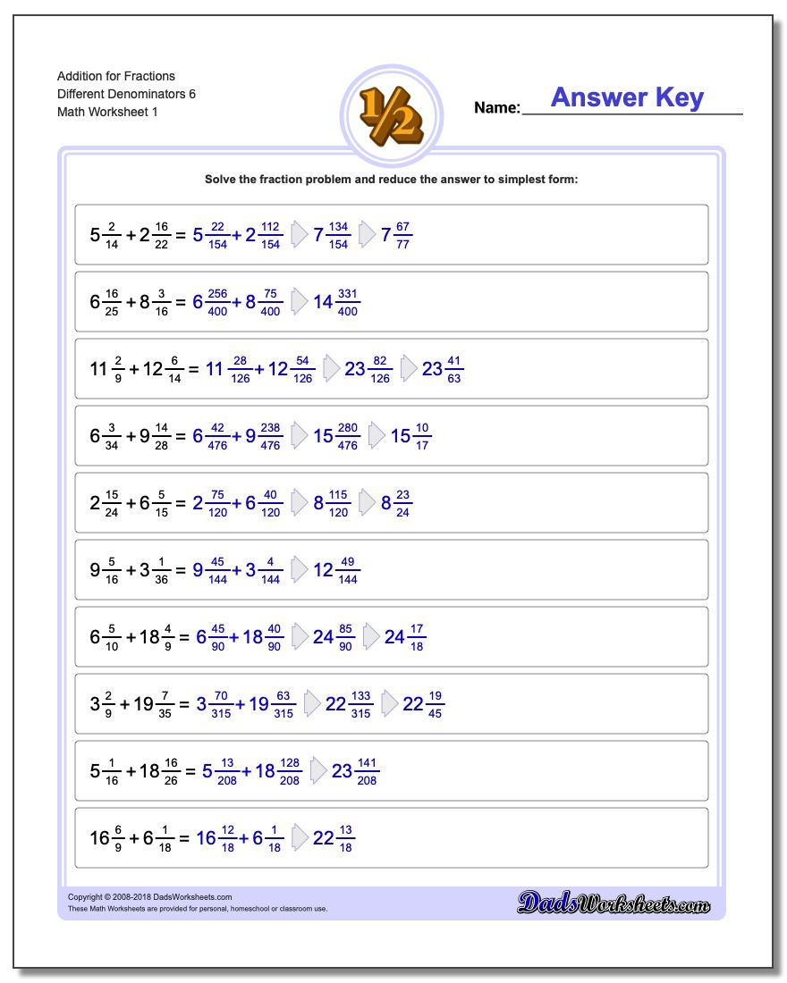 Addition Worksheet for Fraction Worksheets Different