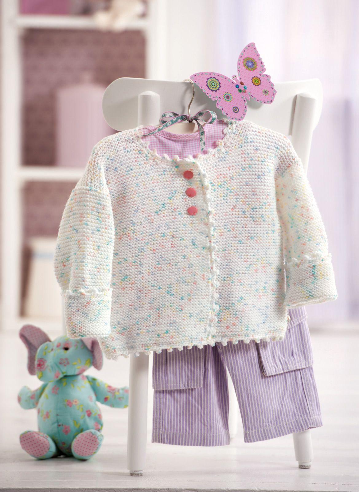 Baby-Jacke in zarten Bonbon-Farben | Baby jacke, Stricken häkeln und ...