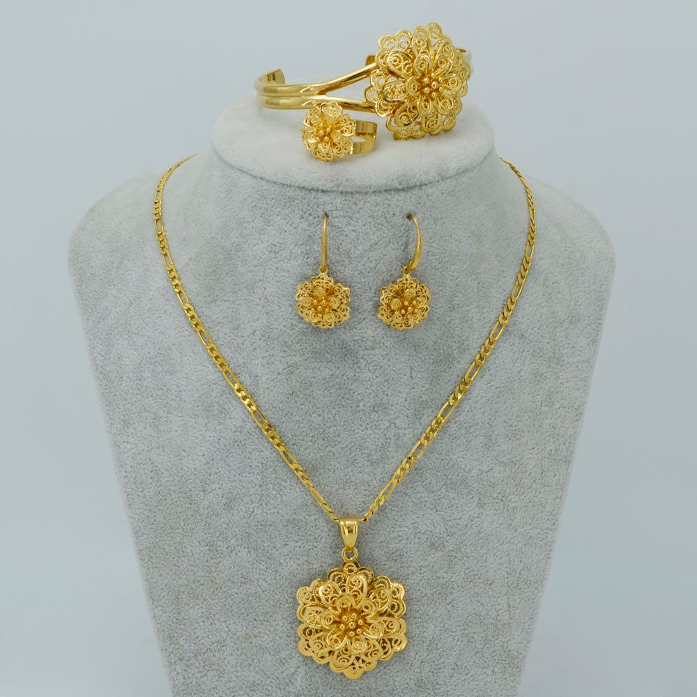 3727bee066d47 18k Gold Plated Flower Jewelry sets Necklace Earrings Bangle Ring ...