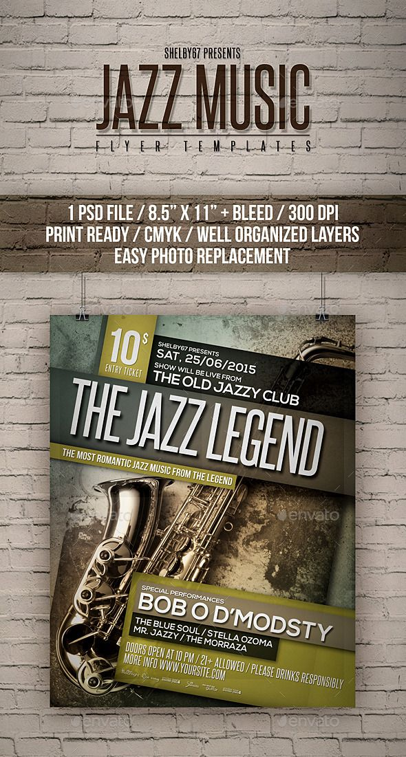 Jazz Music Flyer Templates  New Print Print  And Jazz