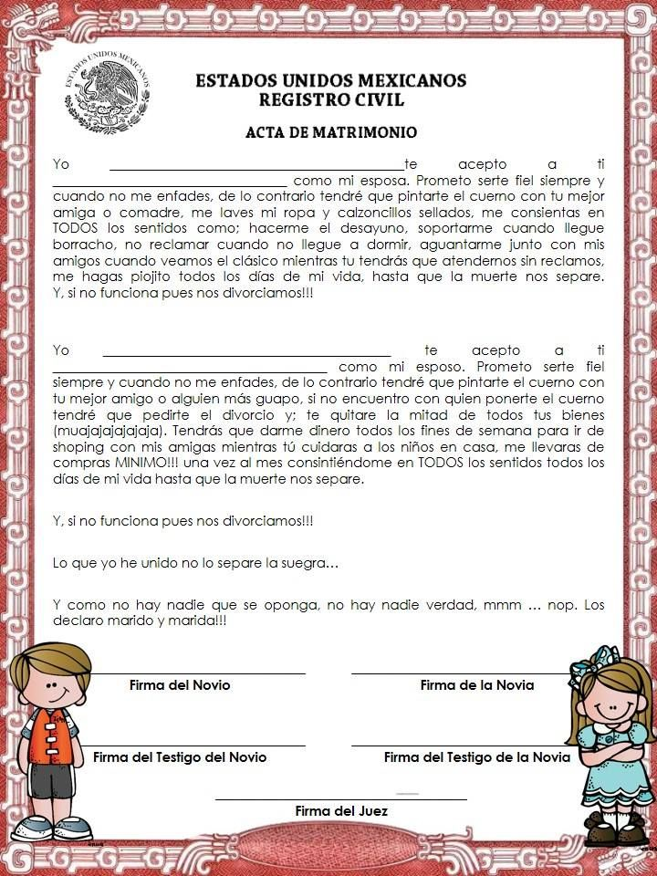 Acta de matrimonio para kermess ideas escolares for Acta familiar