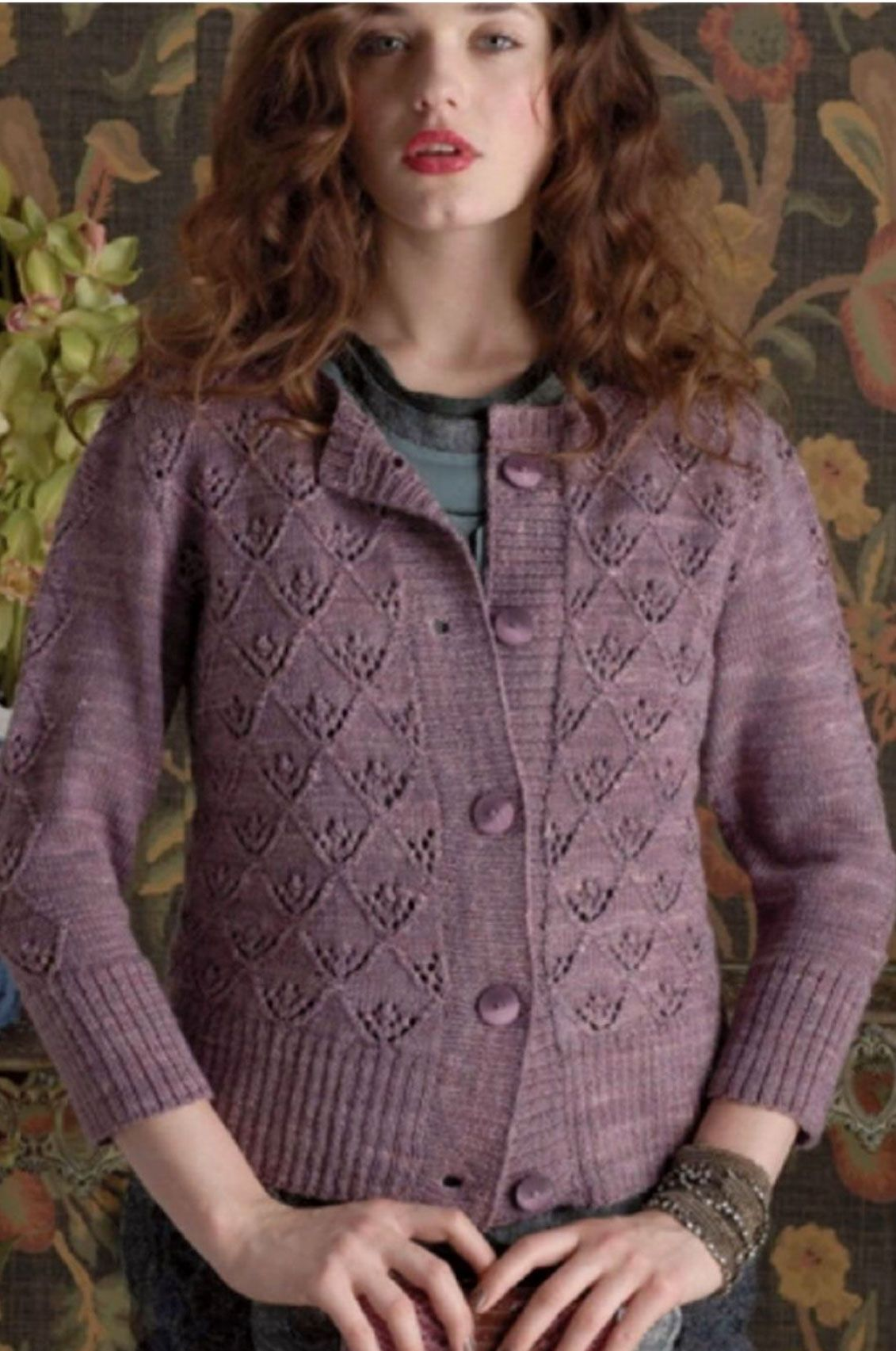 Stunning cardigan knitting pattern with a triangle lace motif. Click ...