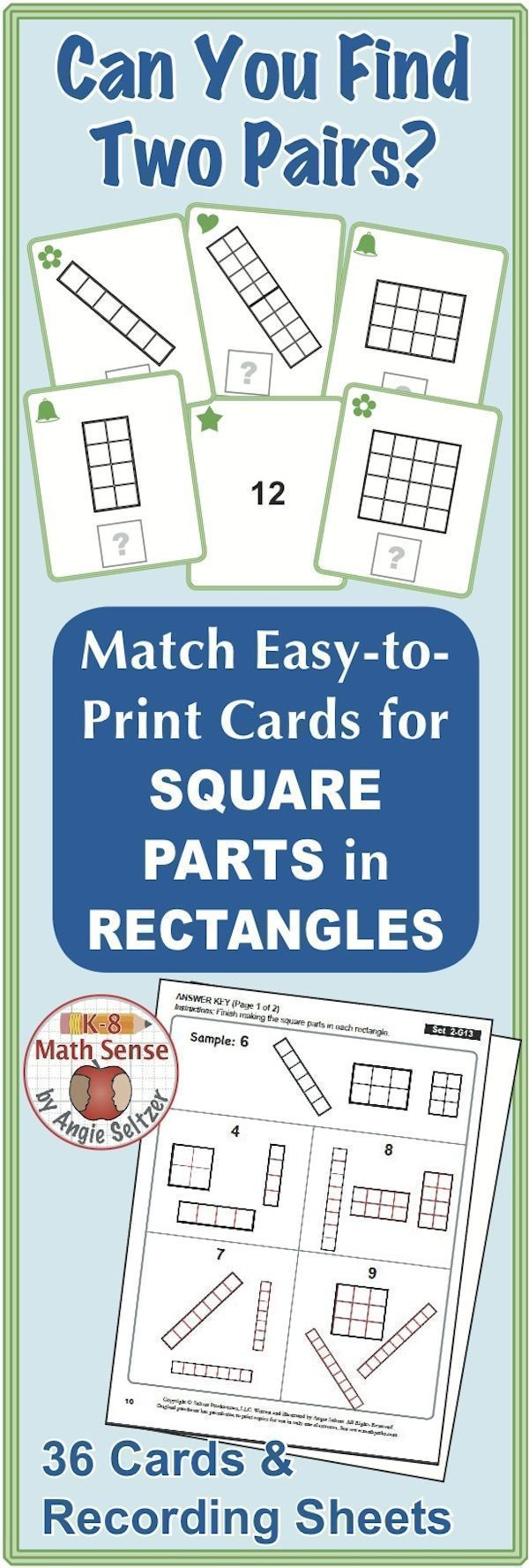 Multi-Match Game Cards 2G: Square Parts in Rectangles | Activities ...