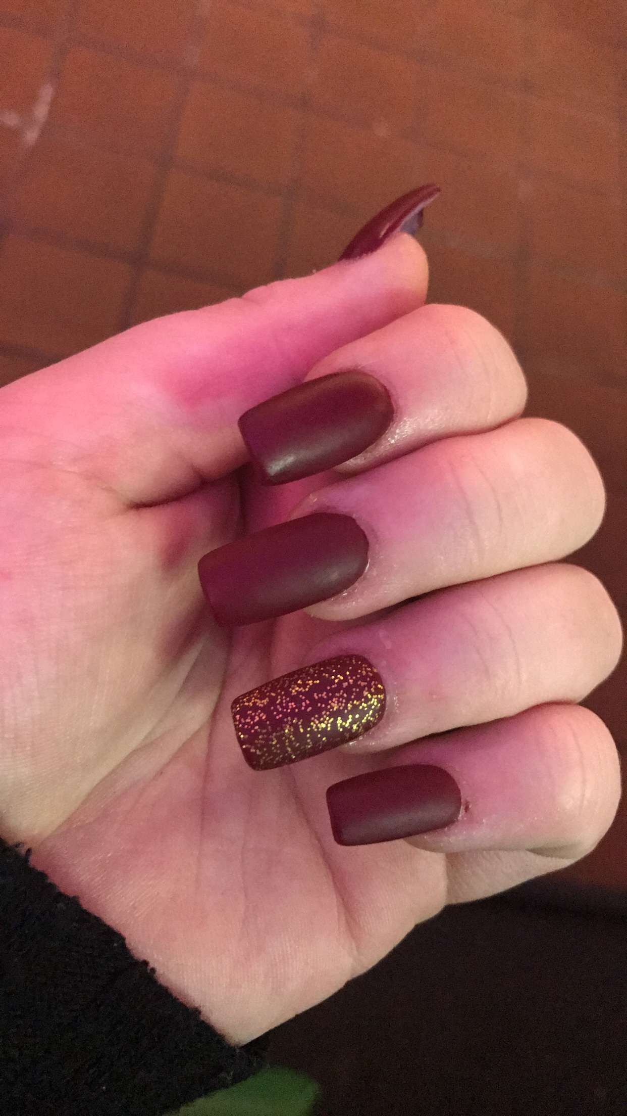 OPI red gold glitter and a matte top coat | Acrylic Nail Design in ...
