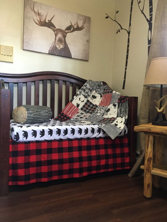 Red Black Plaid Baby Quilt Lumberjack