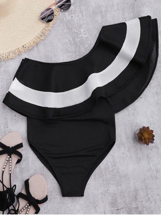 8f8b2361b340a Contrast Ruffle Overlay One Piece Swimsuit.  Zaful  Swimwear  Bikinis  zaful