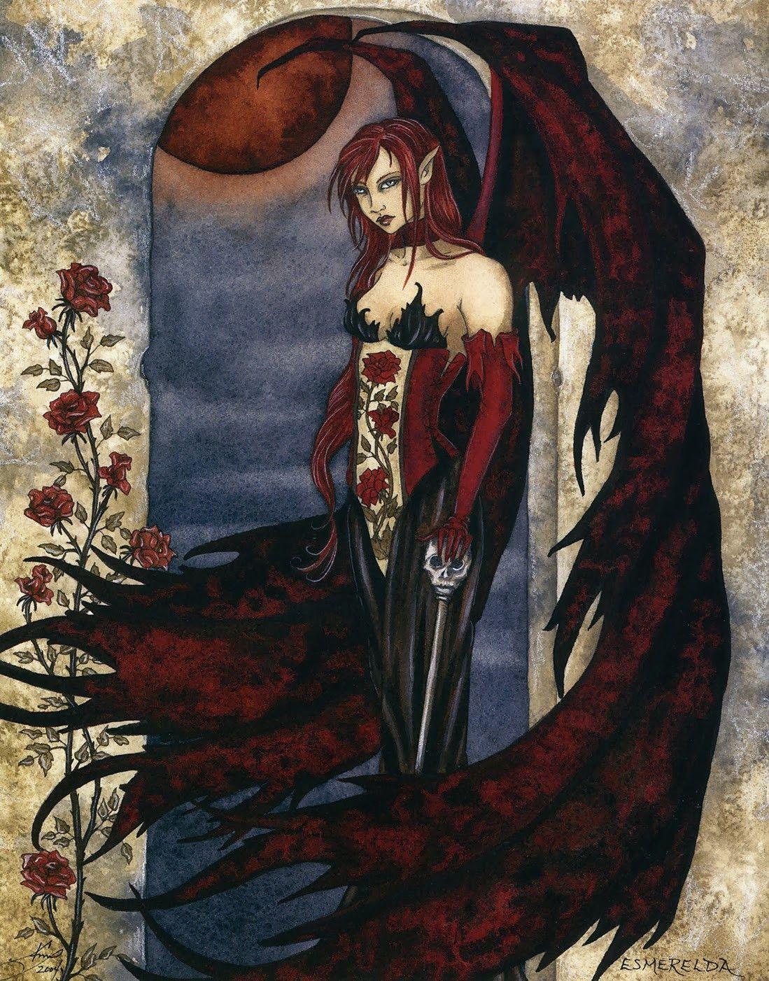 Amy Brown Esmerelda Gothic Ceramic Tile Art Fairies And