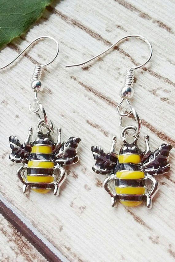 Bee Earrings Charm Keeper Gift Honey