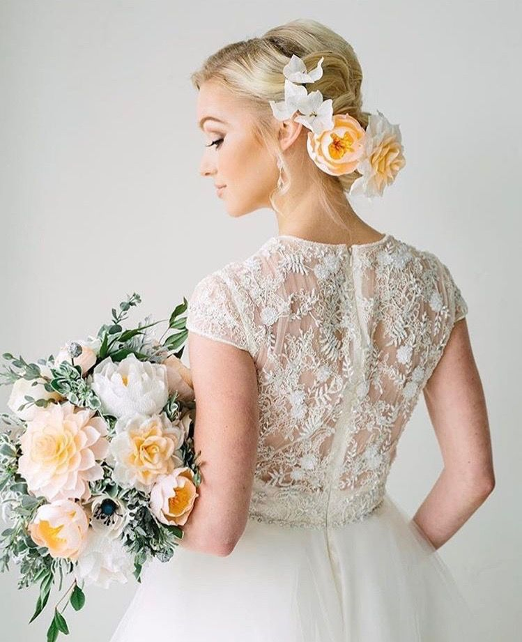 Pin By Leticia Bocanegra On Bride Ideas Modest Wedding Dresses With Sleeves Bride Bridal Hair And Makeup