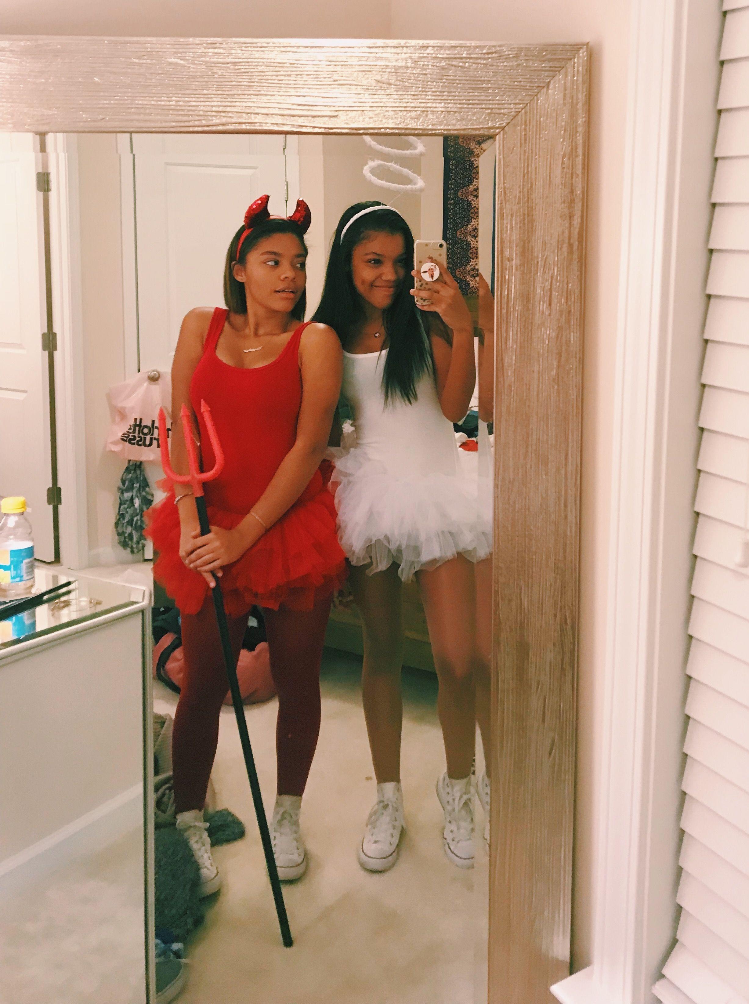 #Halloween #HalloweenParty #HalloweenKostüme #HalloweenMakeup #AngelandDevil,  #AngelandDevil... #bffhalloweencostumes
