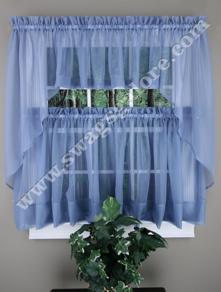 Elegance Sheer Kitchen Curtains Smoked Blue Stylemaster