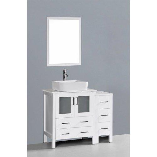 Bosconi 42 Aw130 Single Vanity W Pheonix Stone Top White Aw130rc1s Single Bathroom Vanity Vanity Set With Mirror Vanity Set