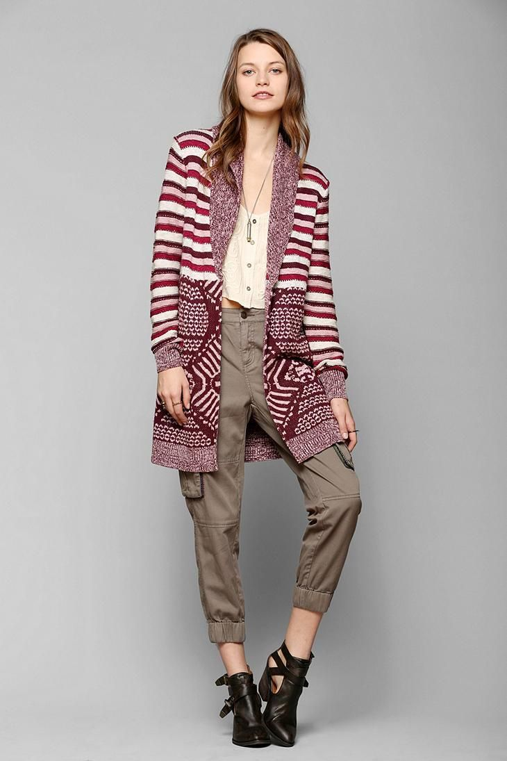 Ecote Mix Intarsia Open-Front Cardigan #urbanoutfitters