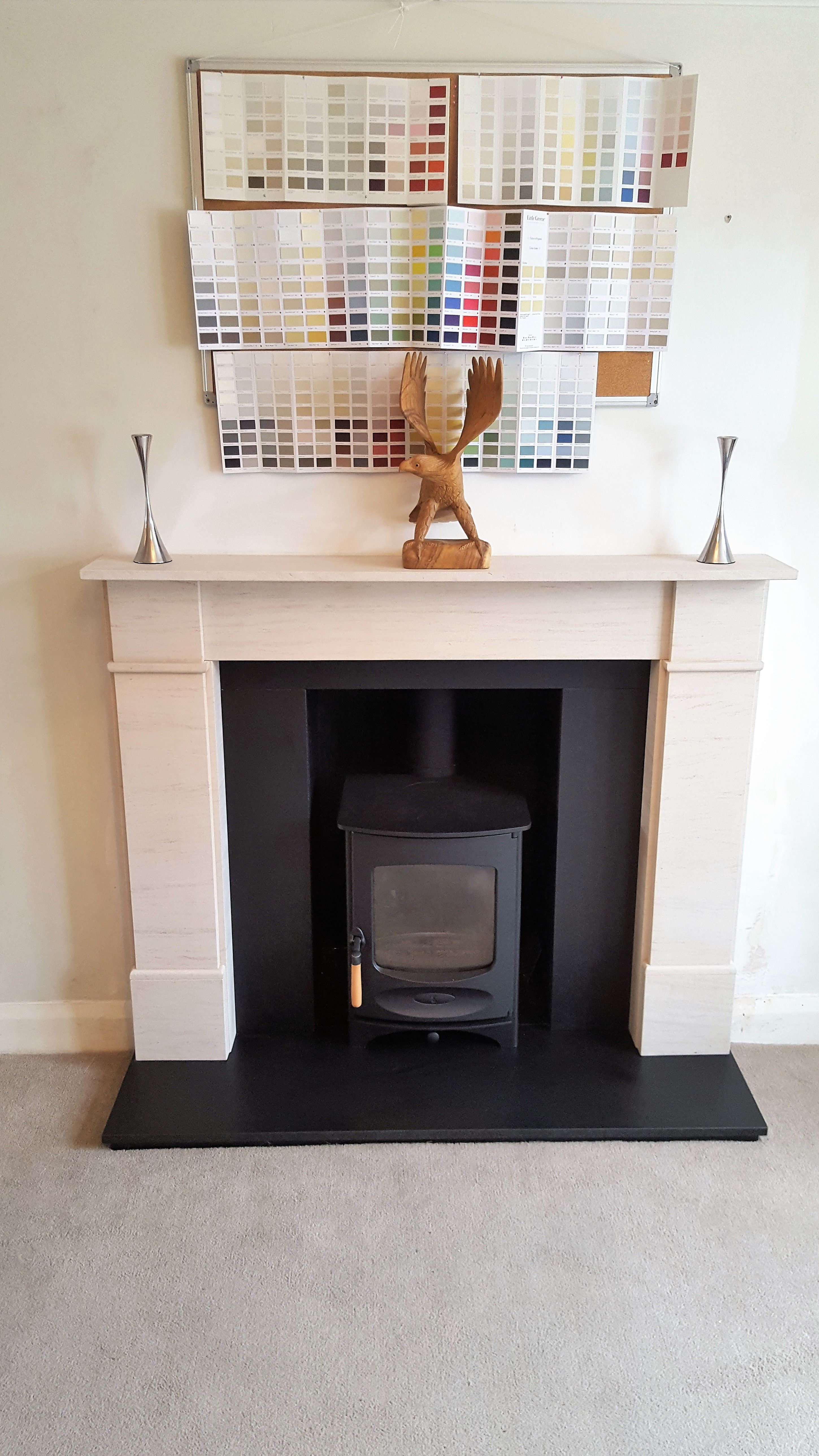 Charnwood C4 Woodburner In Black With Flat Front Victorian And Honed Black Granite Hearths S Fireplace Design Living Room Inspiration Granite Hearth
