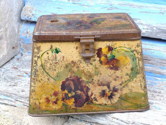 Antique 1900 French tin box pansys lithograph Art nouveau. $29.00, via Etsy.
