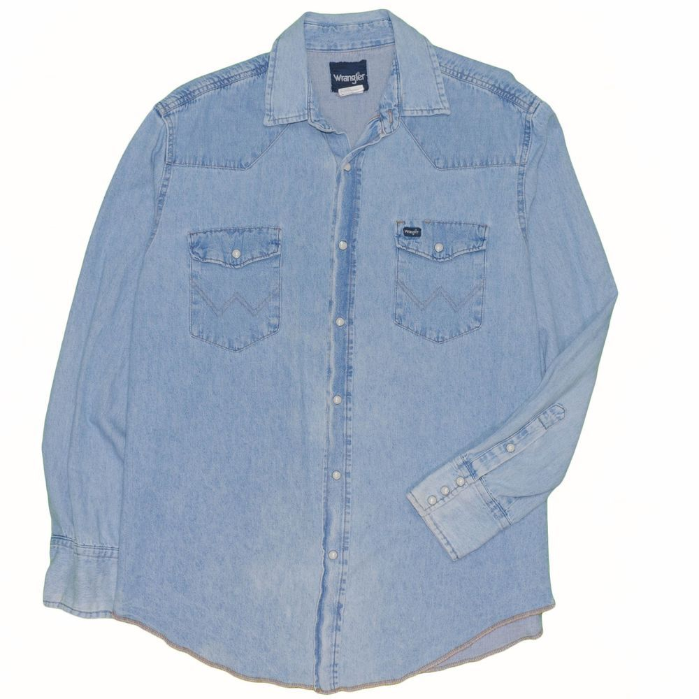 be542083fb5 Vintage Wrangler Denim Shirt Pearl Snap Large Faded Blue Western Long  Sleeve