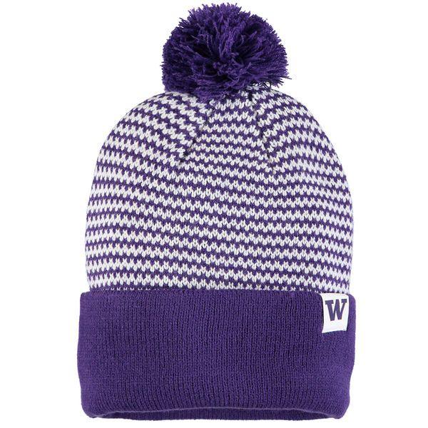 sports shoes 6cb32 2ee81 ... sweden womens nike purple washington huskies stripe cuffed knit hat  with pom 1 9aad9 b5095