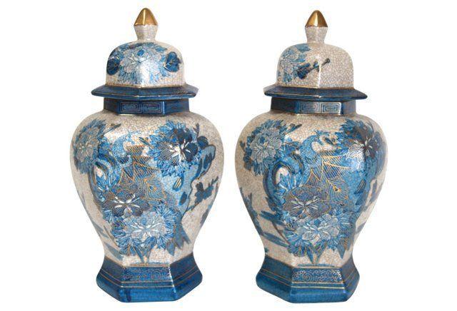 Blue Peacock Painted Ginger Jars, Pair