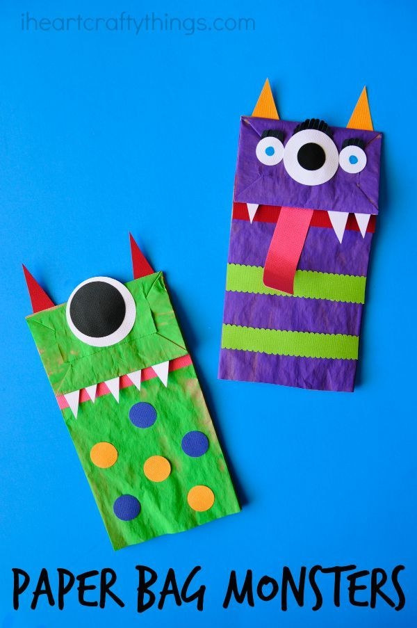 04242c9a274bd Paper Bag Monster Puppets | I Heart Crafty Things | Halloween crafts ...
