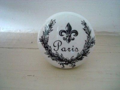 Bouton de porte en porcelaine blanche \