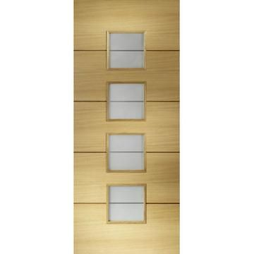 Image Of Amadora Oak Veneer Fire Door Frosted Safety Glass 1 2