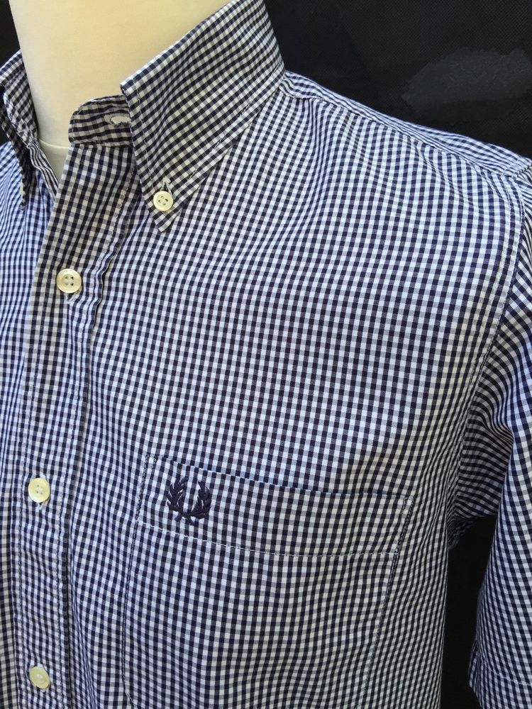 19dbd191b Fred Perry Mens Shirt Small Slim Fit Navy Blue White Gingham Check Short  Sleeve Tried and Tested Menswear eBay