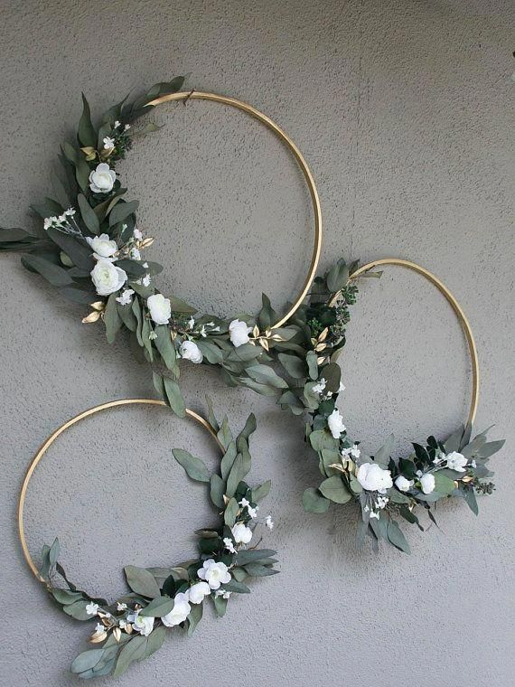 Wedding Hoops with Greenery and Flowers Bridal sho