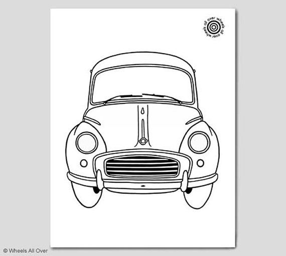 Classic Car Coloring Book Page Featuring A Morris Minor The Same