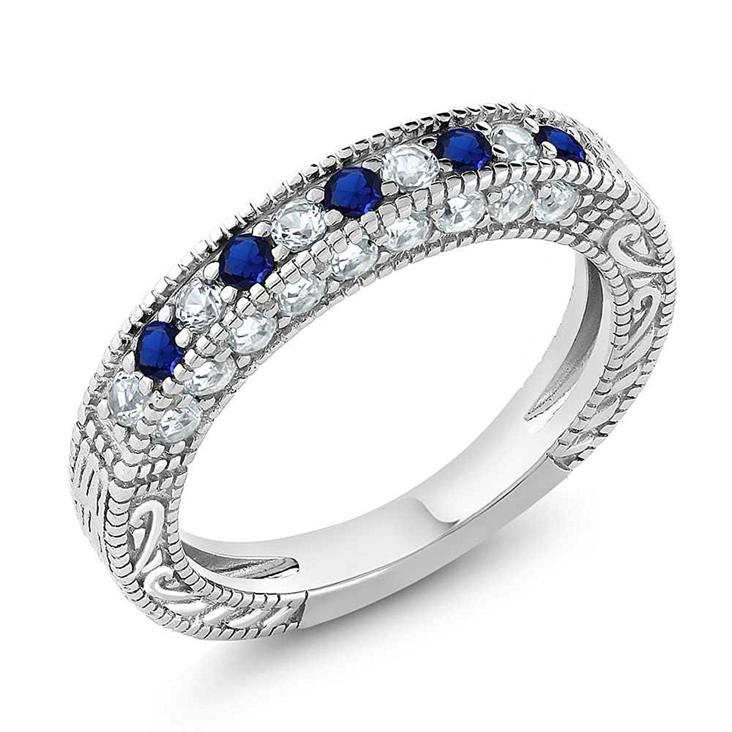 1.00 Ct Blue and White Created Sapphire 925 Sterling