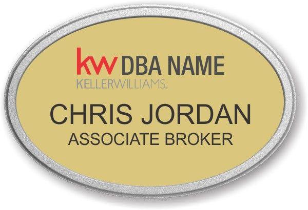 Keller Williams Realty Logo 2 Gold Executive Name Badge | Keller