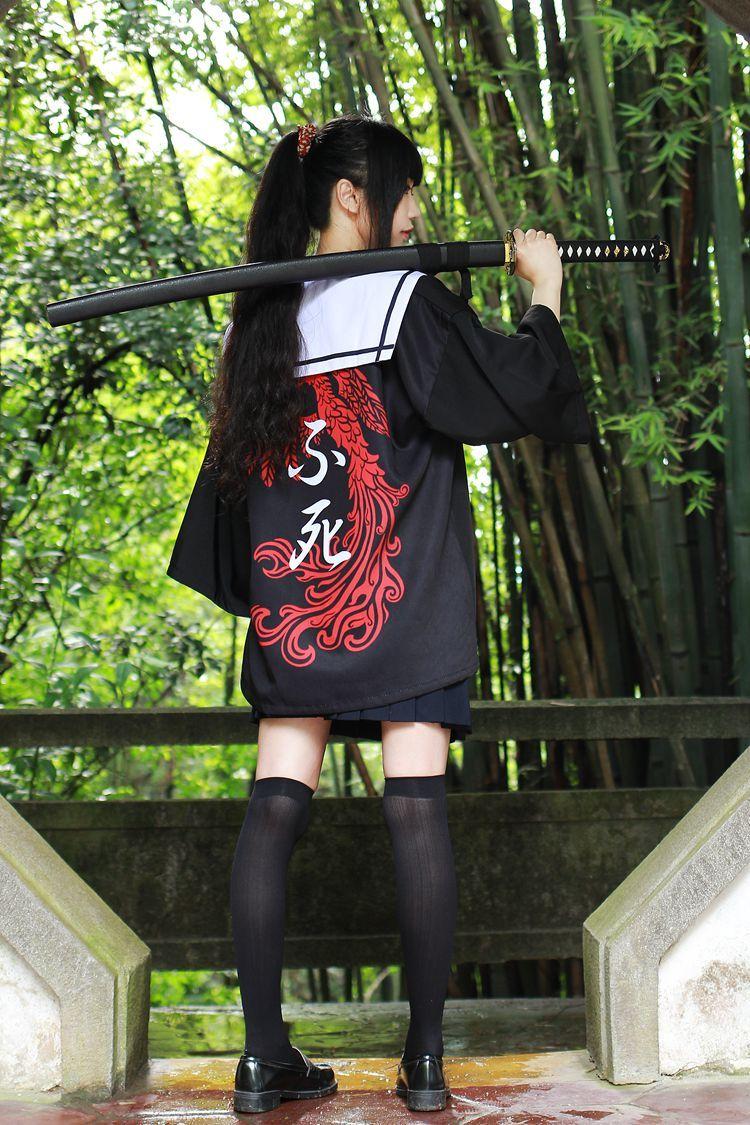 Sukeban Haori Japanese Fashion Katana Girl Figure Poses