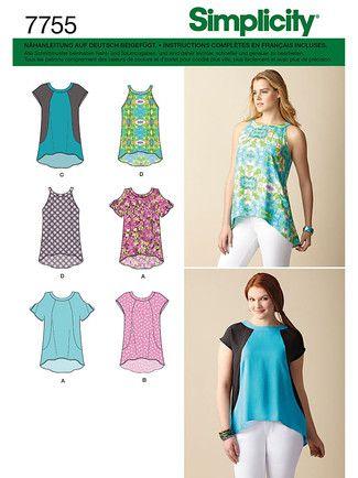 7755 env front | Nähen | Pinterest | Schnittmuster bluse ...