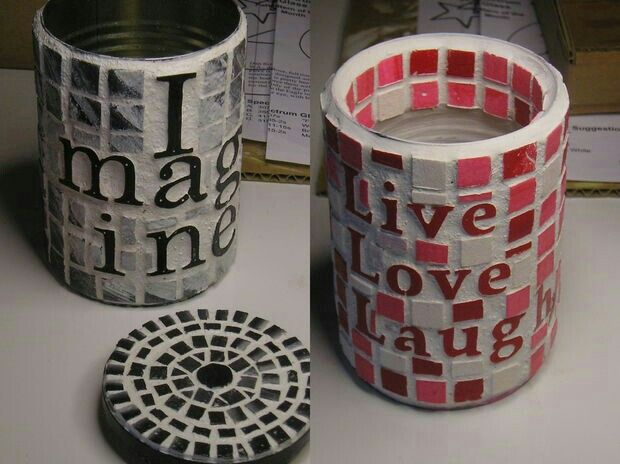Foam squares, grout, and up-cycled tin cans!