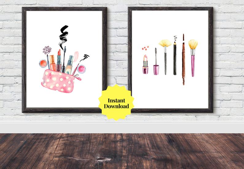 Set of 2 Makeup PRINTABLE Art Teenager Girl Bedroom Decor, Girly Office, Teen Girls Room, Besties Gift for Her, Watercolor Art, 8x10 Print #teenagegirlbedrooms