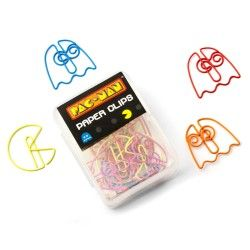 Accessorise your paperwork with these PAC-MAN and Ghost shaped paper clips. Each box contains twenty mixed paper clips: eight PAC-MAN and twelve ghosts (three of each colour).