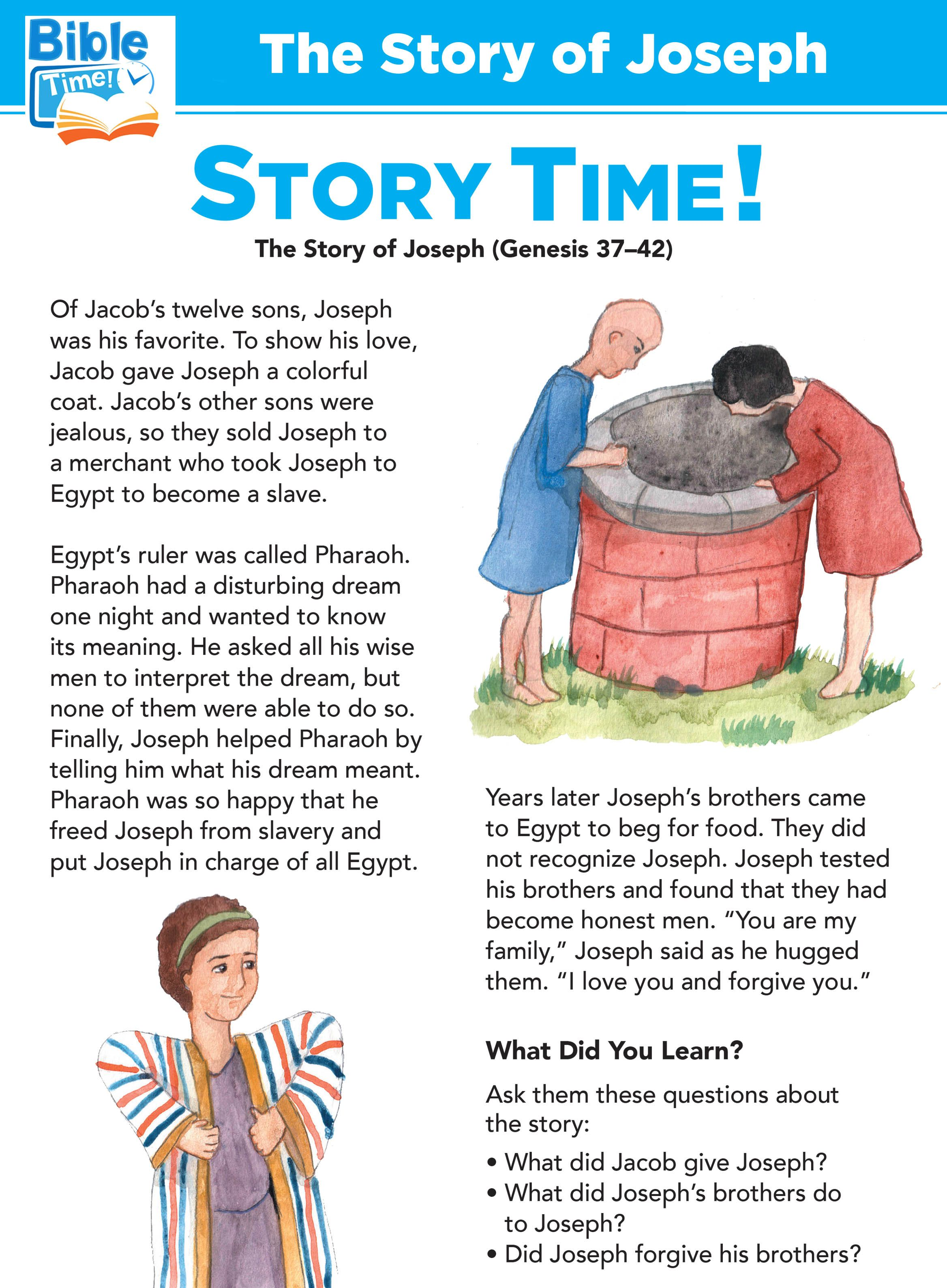 Joseph Preschool Bible Lessons Easy Kids Bible Story For