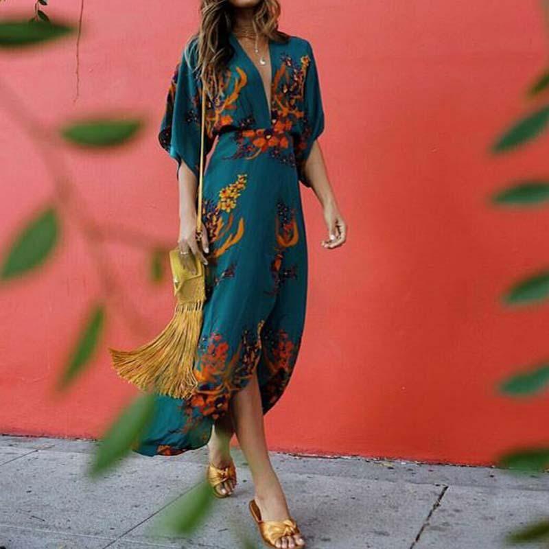 Boho Printed Colour Split V Neck Casual Maxi Dress