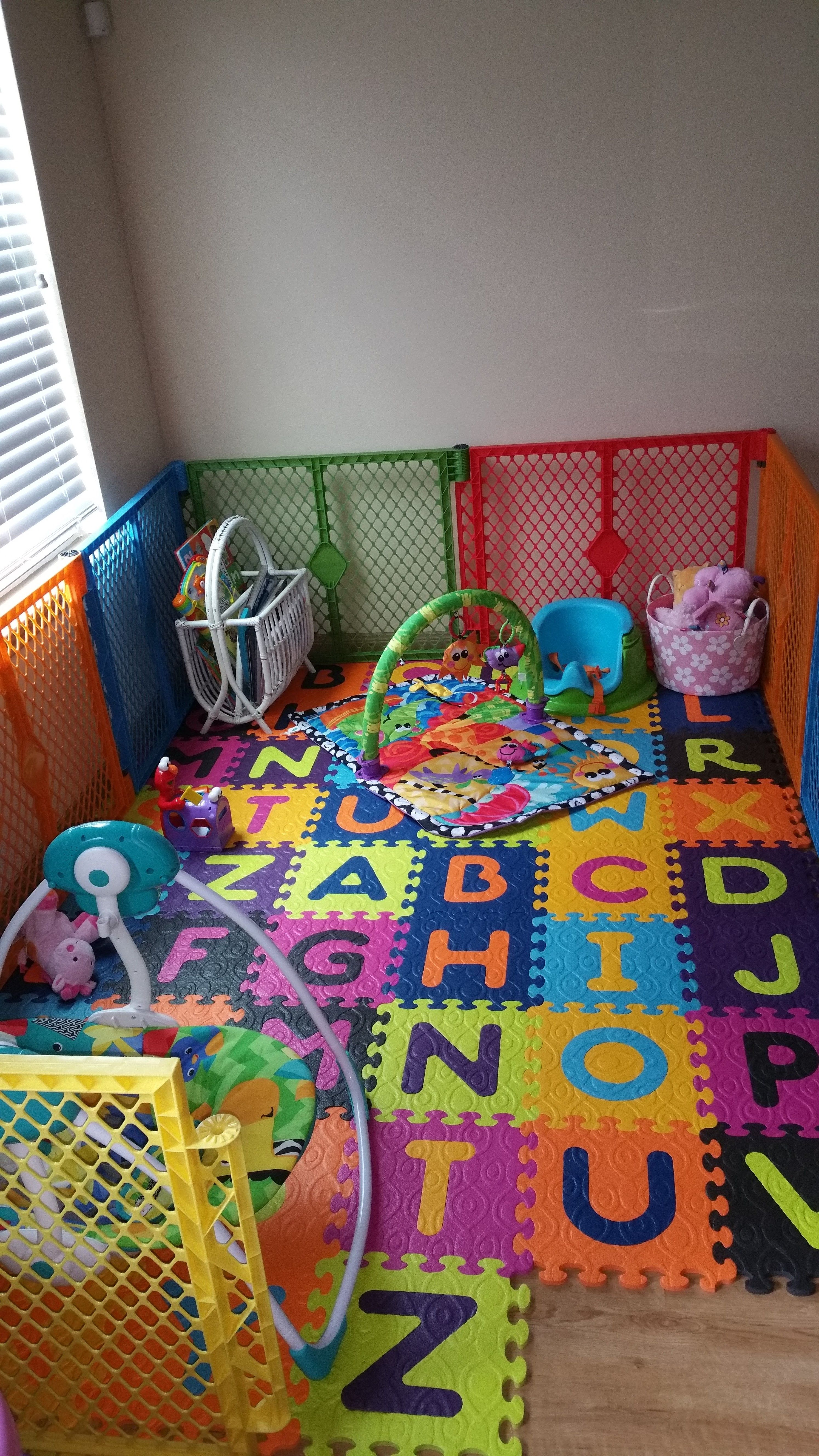 Baby play area in living room Baby play areas