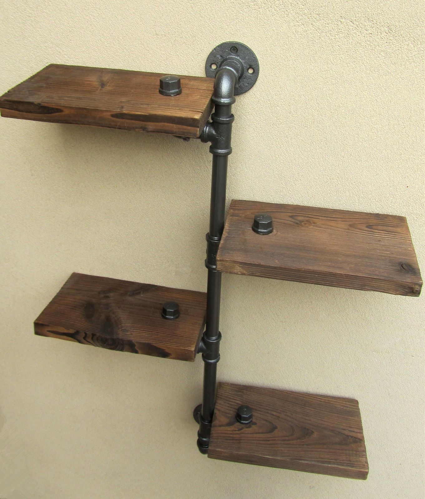 Urban industrial rustic wall mount iron pipe tiers wood shelf