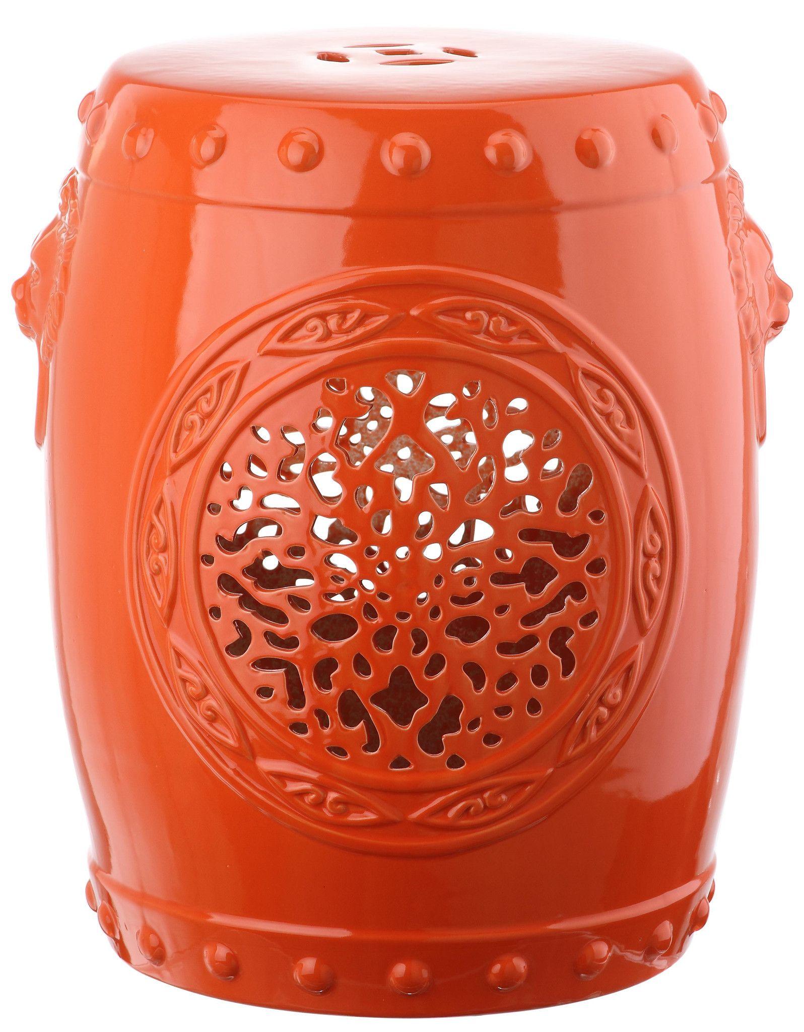 Orange Flower Drum Garden Stool Design By Safavieh Banco Jardim Azulejos Decoracao