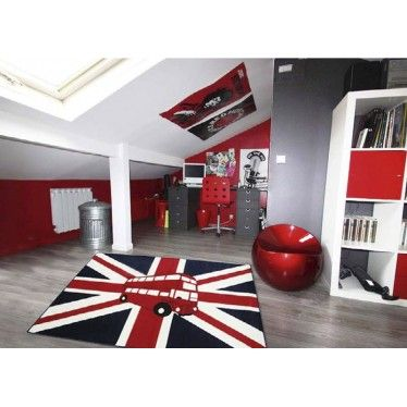 un tapis londonien pour une chambre d 39 ado originale et moderne tapis adolescent pinterest. Black Bedroom Furniture Sets. Home Design Ideas